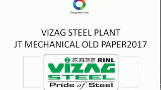 VIZAG STEEL JT MECHANICAL OLD PAPER 2017 WITH KEY