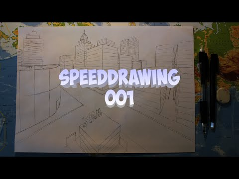 DavLin - SpeedDrawing 001 (City in two point perspective)