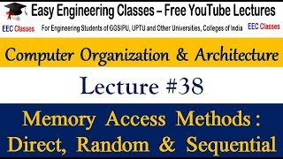 COA Lecture 38 - Memory Access Methods: Direct, Random and Sequential