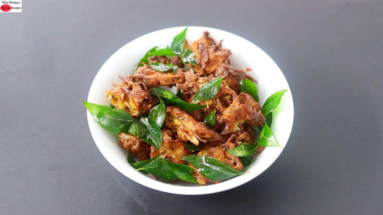 Crispy Onion Pakoda - Easy To Make Kanda Bhaji Recipe - Ulli Vada - Tea Time Snacks   Skinny Recipes
