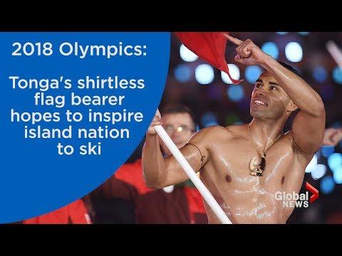 2018 Olympics: Tonga's shirtless flag bearer hopes to inspire island to ski
