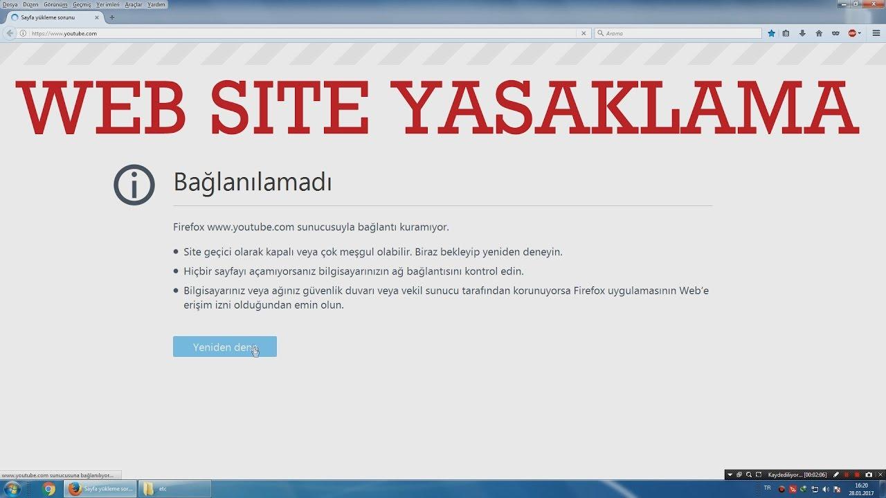 Bilgisayar'dan web sitesi engelleme