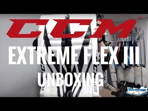 Unboxing the CCM Extreme Flex III Goalie Pads: Leg Pads, Glove & Blocker! (White/Black Edition!)