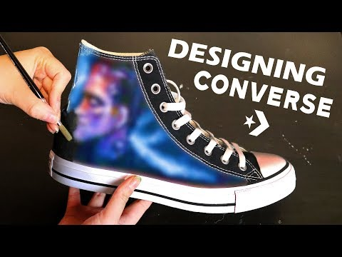 b413cd91a790 How to paint your own canvas shoes Converse All Star Hand Painted ...