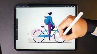 Winter Cycling ❄️ iPad Pro Drawing