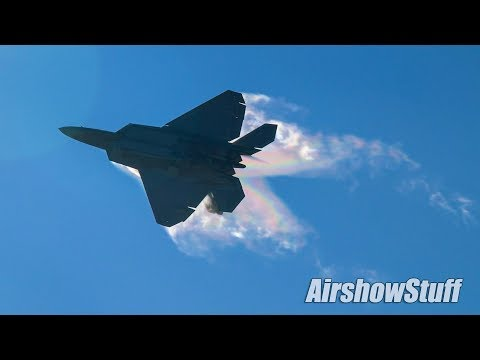 USAF F-22 Raptors - Low Approaches and Arrival - EAA AirVenture Oshkosh 2017