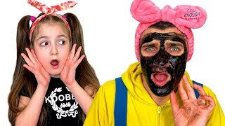Masha and Dad Play with Kids Makeup kits