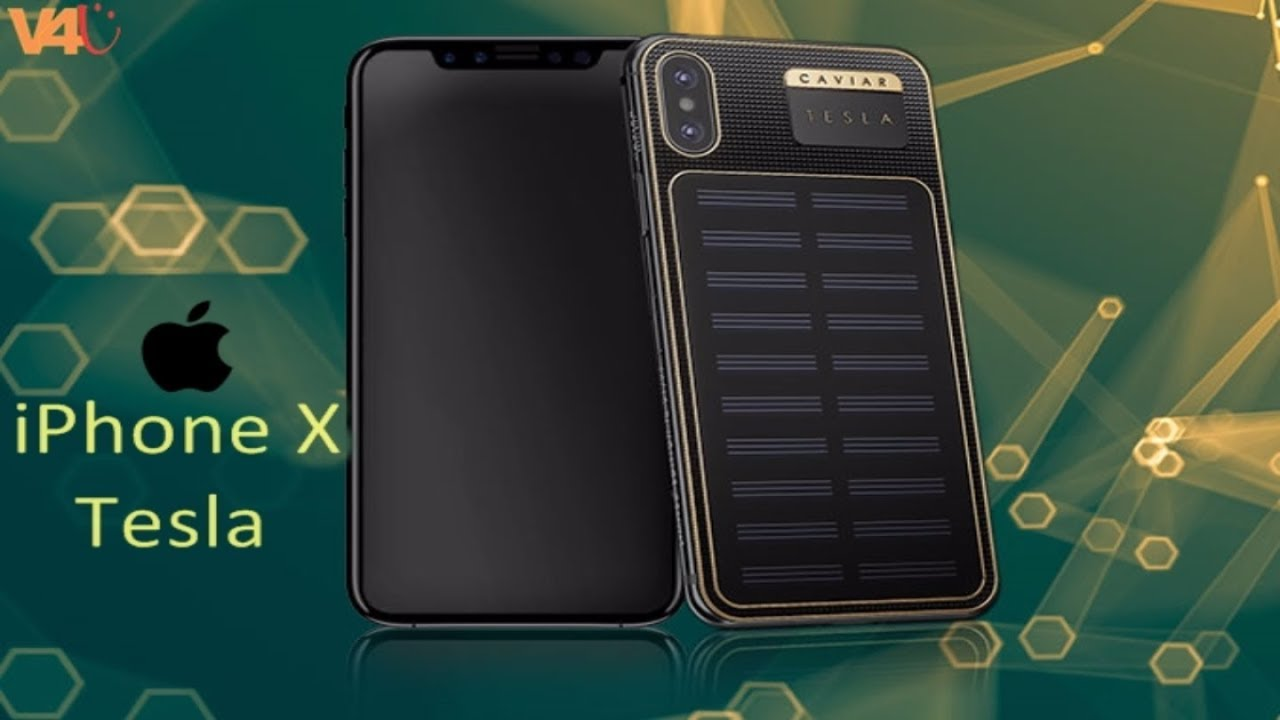 apple iphone x tesla with solar panel on the back from. Black Bedroom Furniture Sets. Home Design Ideas