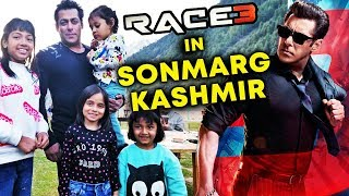 RACE 3: Salman Khan Enjoying With Kids At Sonamarg Kashmir