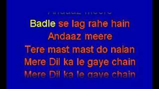 Tere Mast Mast Do Nain karaoke hindi song. Rahat Fateh Ali Khan. Dhabang.
