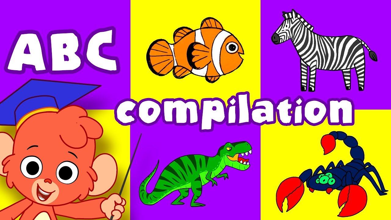 Animal ABC | learn the alphabet A to Z with cartoon animals | ABCD video  compilation for kids