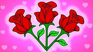 How to draw Red Rose | Rose Day Special | Kids Coloring Book | Cartoon Songs & Rhymes
