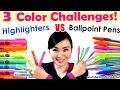 3 Color Challenge Ballpoint Pen VS Highlighter NEW Art Challenges Mei Yu mp3