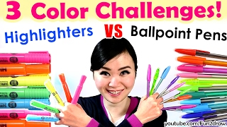 3 Color Challenge: Ballpoint Pen VS Highlighter | NEW Art Challenges