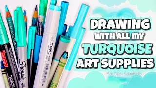 Drawing with only TURQUOISE Art Supplies // SoCraftastic