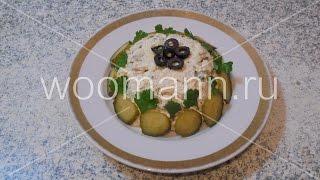 Рецепт салат с сыром и курицей