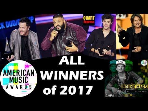 AMA's 2017 - ALL WINNERS | American Music Awards | 19th November 2017 | ChartExpress