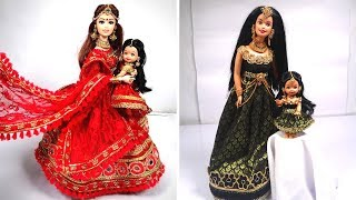 Mom & Daughter Matching outfits for Beautiful Dolls (Best Mom & Daughter Doll Dress Making Videos)