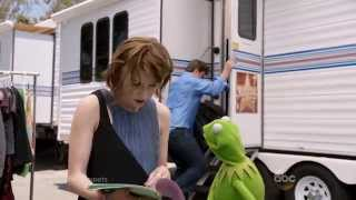 Nathan Fillion in Miss Piggy's Trailer - The Muppets