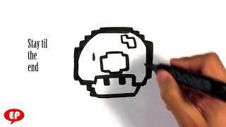 How to Draw Mario Mushroom - 8 bit - Easy Pictures to Draw