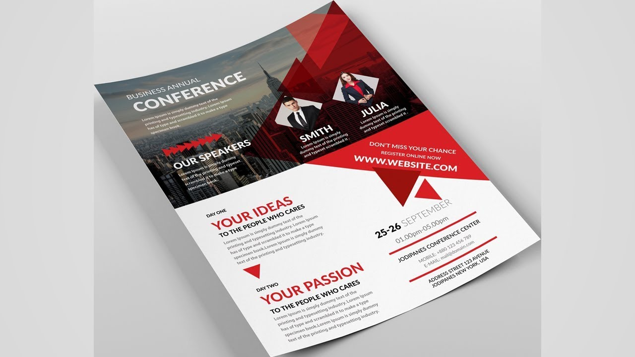 best flyer design tutorial in photoshop leaflet design youtube