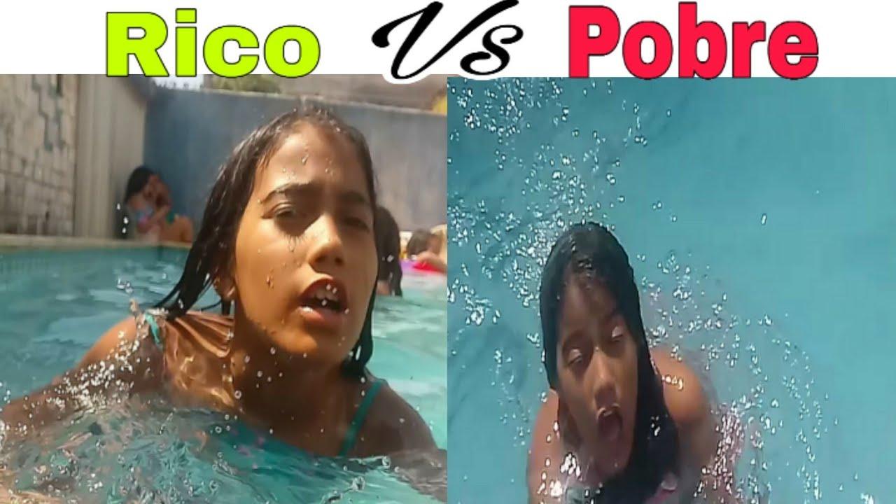 Rico vs pobre na piscina💕/Maria Liz - YouTube