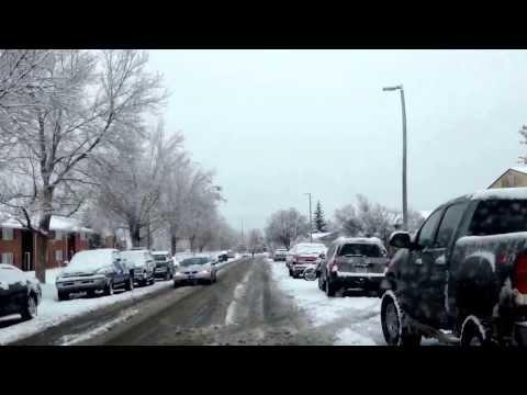 Driving in November snow at Bozeman Montana