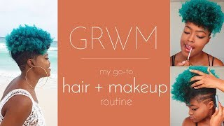 GRWM | My Go-to Hair + Makeup | Natural Hair |  ft. FINEAPPLE