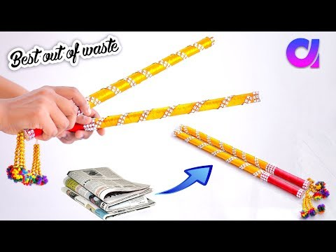 how to make Dandiya Sticks from waste newspaper | navratri | Best out of waste | Artkala 306