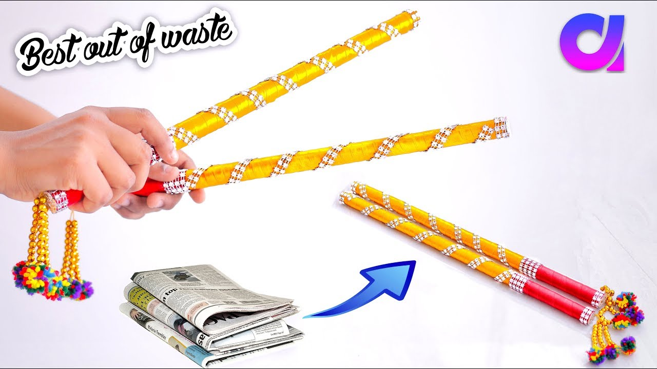 how to make Dandiya Sticks from waste newspaper | navratri | Best out of waste | Artkala 306