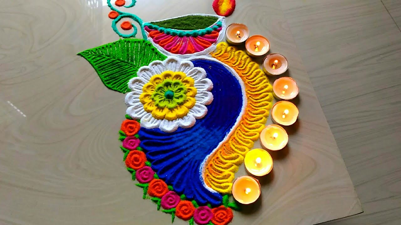 Easy & quick diya decoration Diwali rangoli design 2018