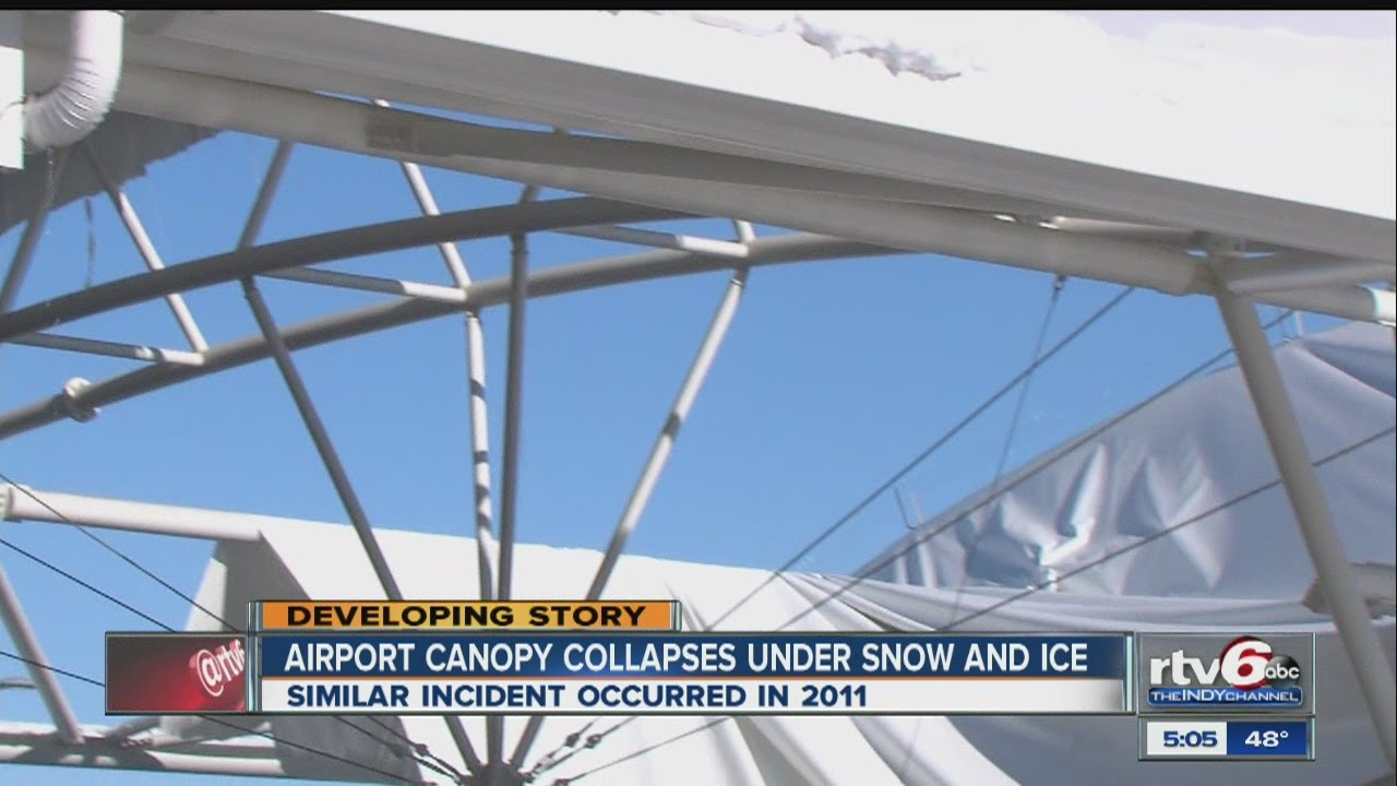 & Indy airport parking garage canopy collapses again - YouTube