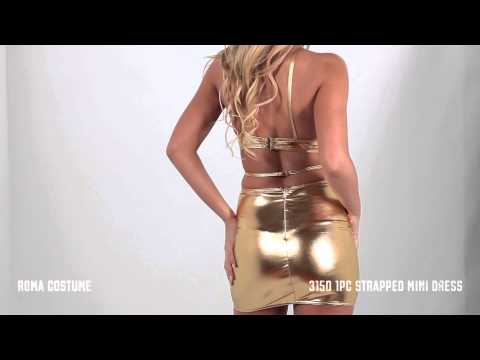 3150 1pc strapped mini dress gold