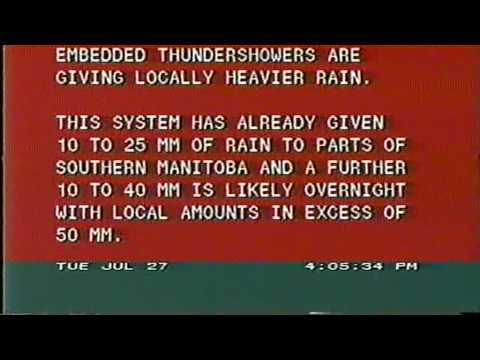 The Weather Network 1993-07-27: Local Forecast W/updated Warning Scroll