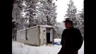 REEFER CONTAINER CABIN HOME IN THE OKANOGAN HIGHLANDS IN JANUARY -- 1 OF 4