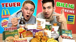 BILLIG VS. TEUER! McDonald's vs BurgerKing vs Supermarkt I Fast Food Challenge (blind)