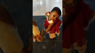 Cute baby love animals