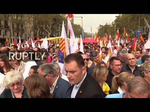 LIVE: Spanish unionists protest against Catalonian independence