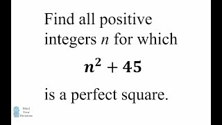 When is n² + 45 a perfect square? Can You Solve It?