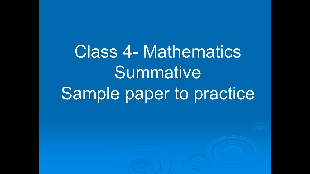 NCERT-Class 4-Mathematics-Summative-Sample paper