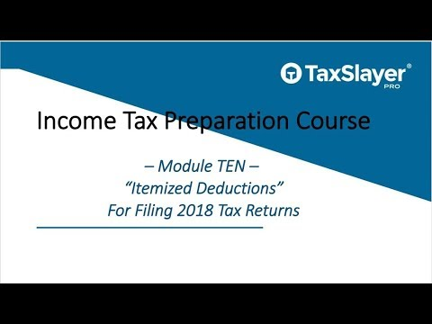 2018 Income Tax Preparation Course – Module Ten – Itemized Deductions