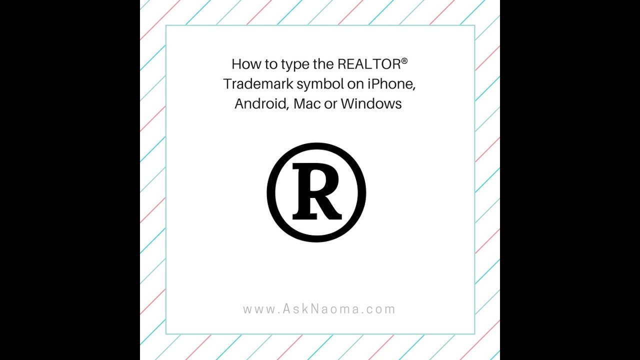 How To Type Realtor Trademark Symbol On Iphone Android Mac Or