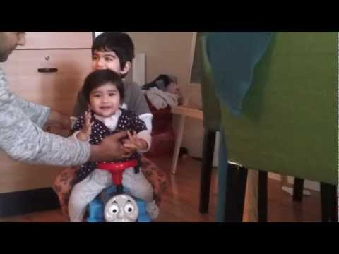 Yusuf Family Video - Haroon (3yrs) and Maryam ( 10 months) playing Thomas train