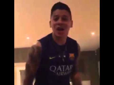 Marcos Rojo Goes Insane Celebrating Barcelona Goal in Barcelona Shirt