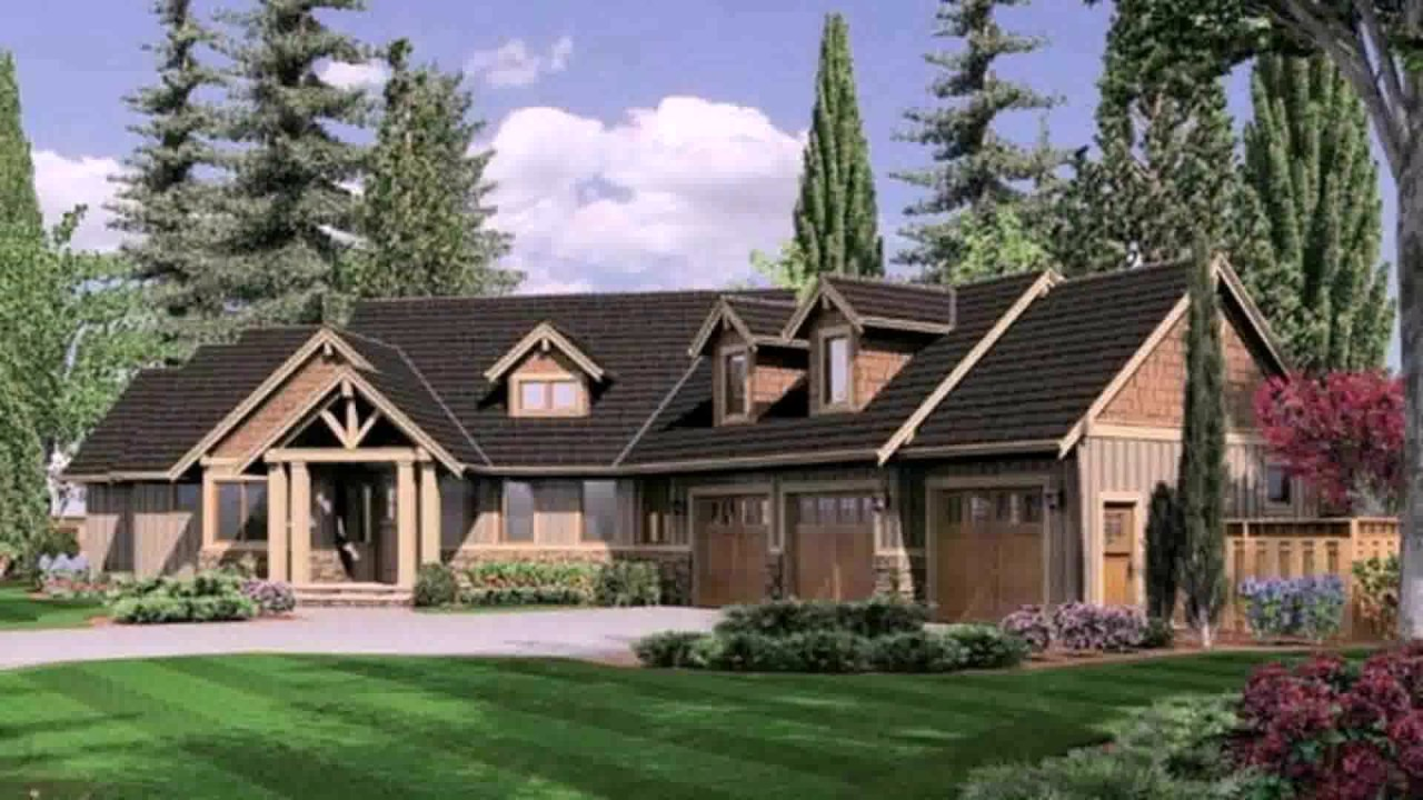 Ranch Style House Plans Angled Garage - YouTube