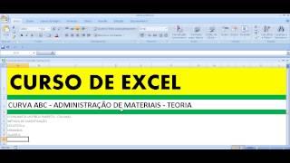 Curso de Excel Curva ABC Aula 1 Teoria Administração de Materiais Estoque Produto Pareto