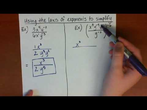 Simplifying expressions using the Laws of Exponents - YouTube