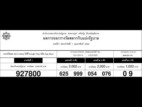 ใบตรวจหวย 1/02/59 ตรวจผลสลากกินแบ่งรัฐบาล 1 ก.พ. 2559