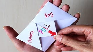 DIY - SURPRISE MESSAGE CARD FOR MOTHER'S DAY | Pull Tab Origami Envelope Card | Mother's D