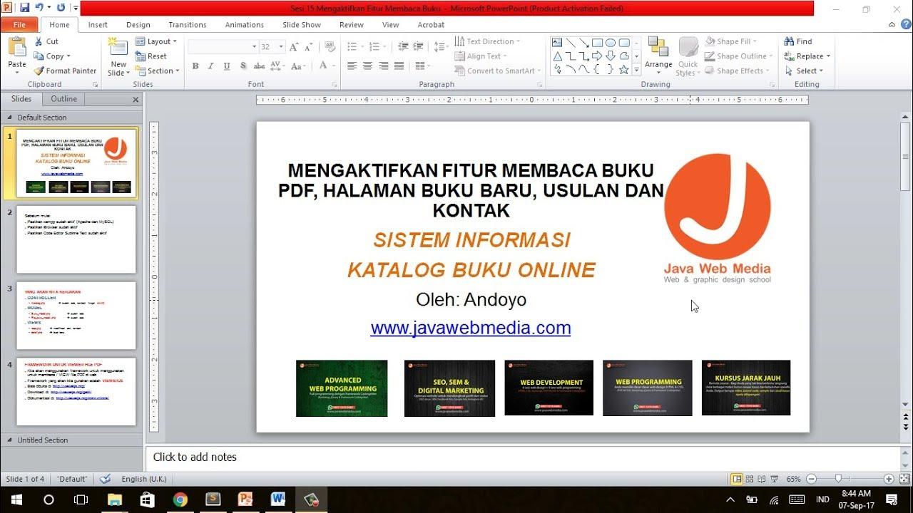 Kursus Codeigniter Java Web Media 15 - Membaca Buku PDF, Halaman Buku Baru,  Usulan dan Kontak